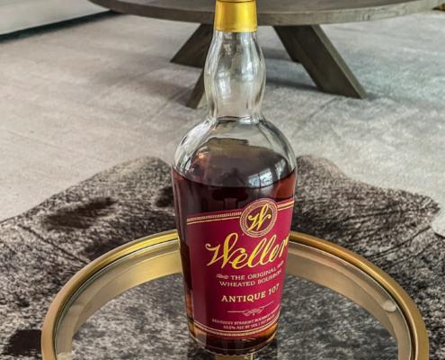 A header image of a bottle of Weller Antique 107 Bourbon Whiskey