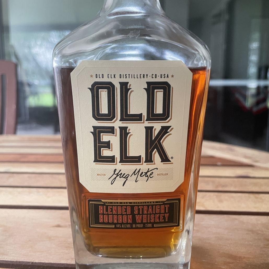 The front label from a bottle of Old Elk Blended Straight Bourbon Whiskey